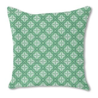 Quatrefoil Green Burlap Pillow Double Sided