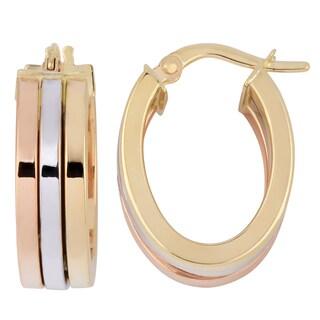 Fremada Italian 14k Tri-color High Polish Triple Oval Hoop Earrings