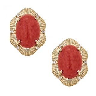 Anika and August 14k Yellow Gold Coral and 1/10ct TDW Diamond Earrings (G-H, I1-I2)