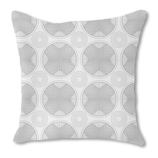 In the Circle Grid Burlap Pillow Single Sided