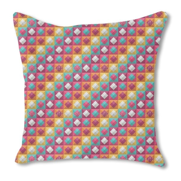 Diamond To the Square Burlap Pillow Single Sided