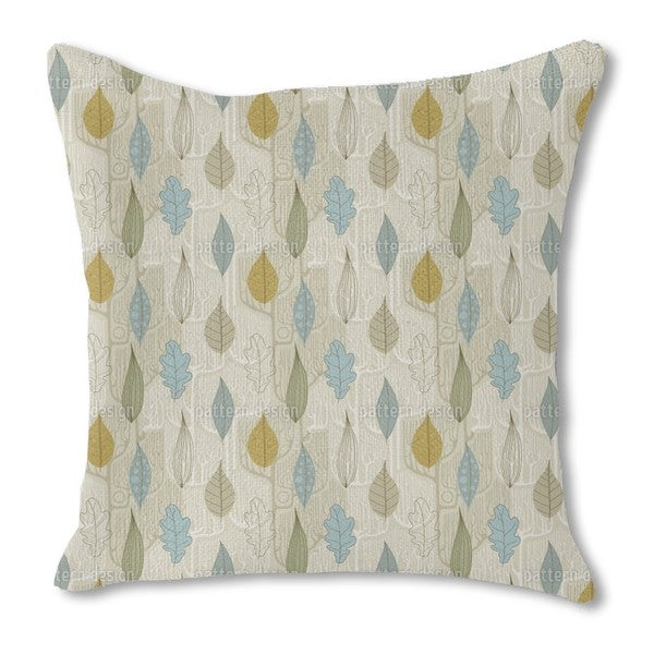 Trees and Leaves Burlap Pillow Double Sided