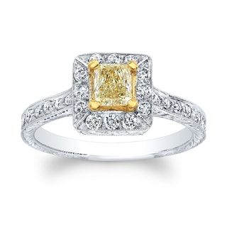 Matthew Ryan 18k Two-tone Gold 4/5ct TDW Light Yellow and White Diamond Princess Halo Engagement Ring (H-I, SI1-SI2)
