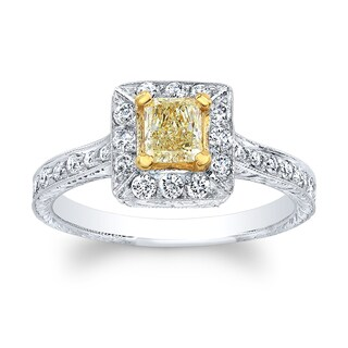 Matthew Ryan 18k Two-tone Gold 4/5ct TDW Light Yellow and White Diamond Princess Halo Engagement Ring (H-I, SI1-SI2)