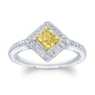Matthew Ryan Design 14k White Gold 5/8ct TDW Fancy Yellow and White Diamond Princess Engagement Ring (H-I, SI1-SI2)