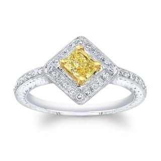 Matthew Ryan Design 14k White Gold 5/8ct TDW Fancy Yellow and White Diamond Princess Engagement Ring (H-I, SI1-SI2)