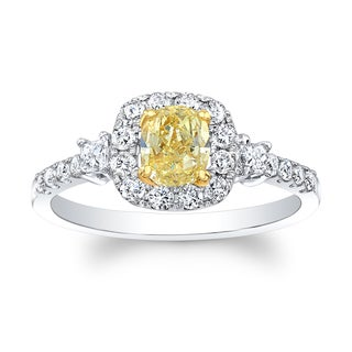 Matthew Ryan Designs 18k Two-tone Gold 1ct TDW Fancy Yellow and White Diamond Cushion Ring (H-I, SI1-SI2)