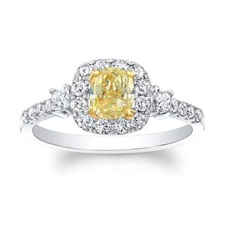Matthew Ryan Designs 18k Two-tone Gold 1ct TDW Fancy Yellow and White Diamond Cushion Ring (H-I, SI1-SI2)