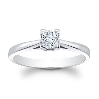 Matthew Ryan Designs 14k White Gold 2/5ct TDW Diamond Princess Cut Solitaire Engagement Ring