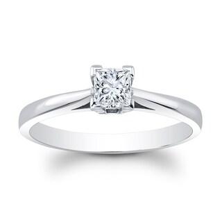 Matthew Ryan Designs 14k White Gold 2/5ct TDW Diamond Princess Cut Solitaire Engagement Ring (Option: 4.75)