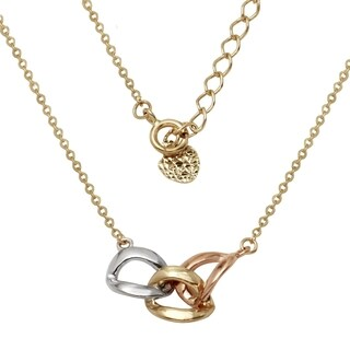 14k Yellow Gold Entwined Chains 16-inch to 18-inch Adjustable Necklace