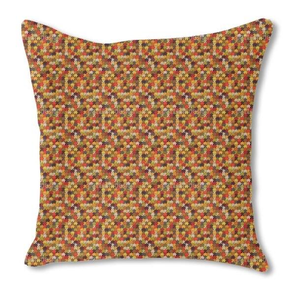 Retro Puzzle Burlap Pillow Double Sided