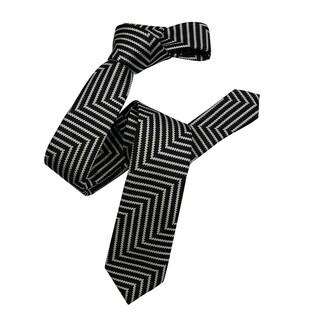 Dmitry Men's Black Italian Patterned Silk Skinny Tie