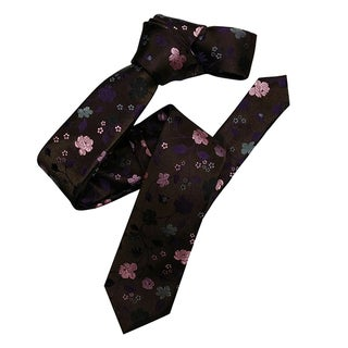 Dmitry Men's Brown Floral Italian Silk Skinny Tie