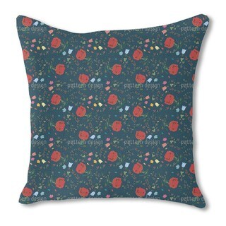 Floral Mix Burlap Pillow Single Sided