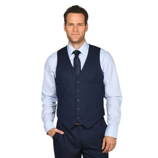 Kenneth Cole Reaction Suit Separates Modern Blue Windowpane Vest