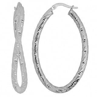 Fremada Italian 14k White Gold Diamond-cut Bold Oval Hoop Earrings