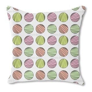 Striped Circles Burlap Pillow Single Sided