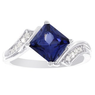 H Star Sterling Silver Princess-cut Created Sapphire and Diamond (I-J, I2-I3) Accent Ring