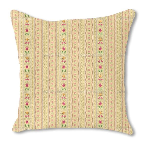 Florets and Tulips Burlap Pillow Double Sided