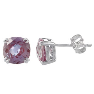 H Star Sterling Silver Created Alexandrite Stud Earrings