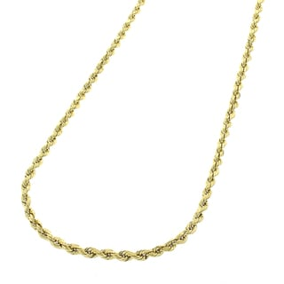 14k Yellow Gold 1 mm Solid Rope Cable Chain Necklace