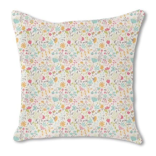 Floral Enchantment Burlap Pillow Single Sided