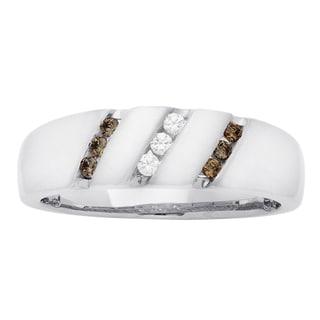 H Star 10k White Gold Men's 1/4ct Brown and White Diamond Ring (I-J, I2-I3)