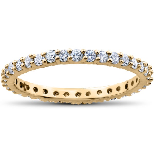18k Yellow Gold 1ct TDW Diamond Eternity Ring Stackable Womens Band