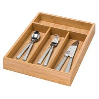 Honey Can Do KCH-01078 Bamboo 4 Compartment Cutlery Tray