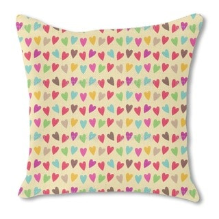 Crocheted Hearts Burlap Pillow Single Sided