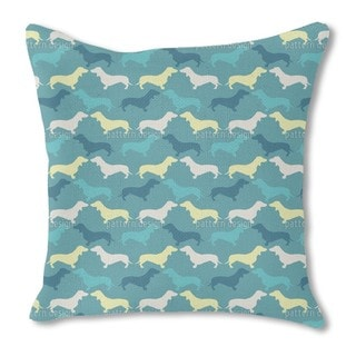 Dachshund Petrol Burlap Pillow Single Sided