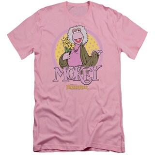 Fraggle Rock/Mokey Circle Short Sleeve Adult T-Shirt 30/1 in Pink