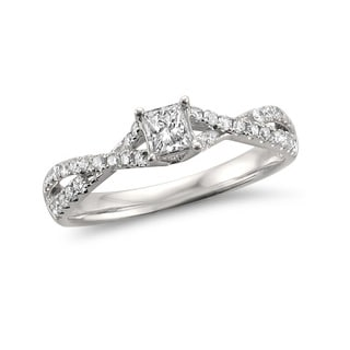 Montebello Jewelry 14k White Gold 1/2ct TDW White Diamond Composite Engagement Ring