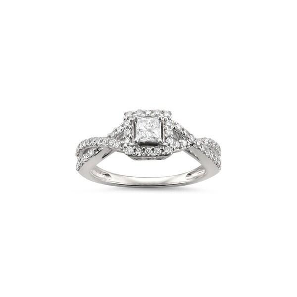 Montebello Jewelry 14k White Gold 1/2ct TDW Princess-cut White Diamond Halo Engagement Ring