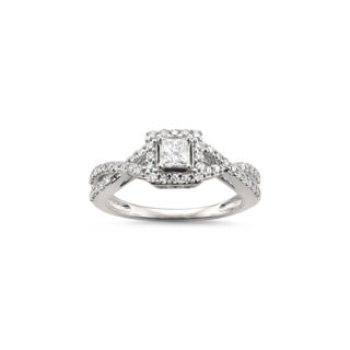 Montebello Jewelry 14k White Gold 1/2ct TDW Princess-cut White Diamond Halo Engagement Ring