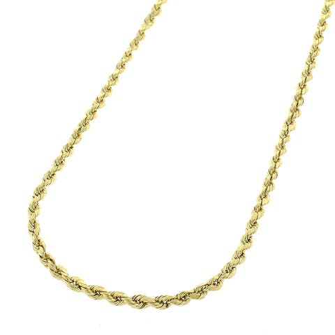 """Authentic 14k Yellow Gold 1.5mm Solid Rope Braided Twist Link Necklace Chain 16"""" - 24"""", Men & Women, In Style Designz"""