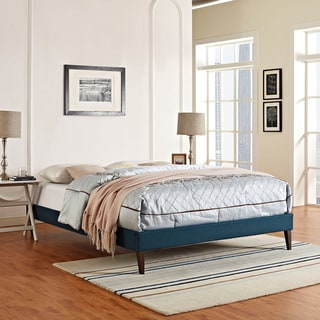 Sharon Azure Polyester Fabric and Wood Bed with Squared Tapered Legs