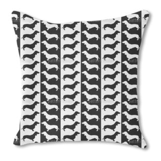 Dachshund Black and White Burlap Pillow Single Sided