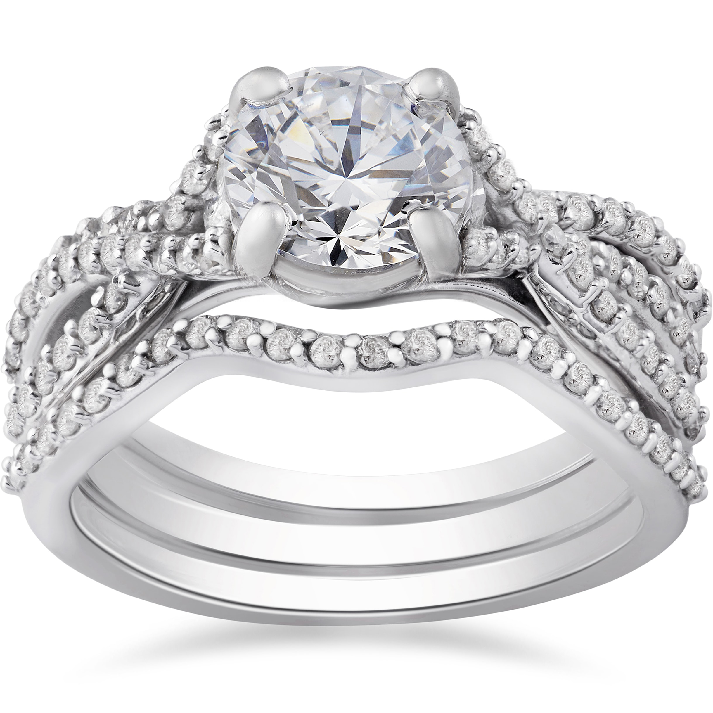 6 Prong set Black Diamond Engagement Ring Accented Shank 3//4 Carat Total Weight 14K Gold