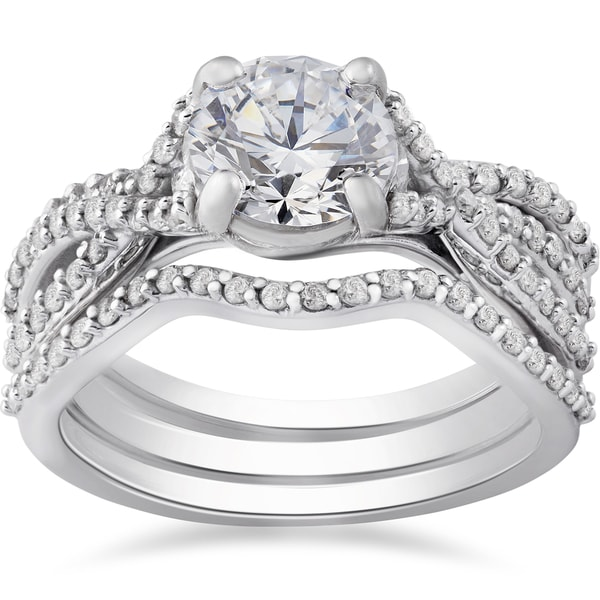 Diamond Rings For Sale Walmart: Shop 14k White Gold 1 3/4 Ct TDW Twist Diamond Engagement