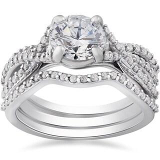 14k White Gold 1 3/4 ct TDW Twist Diamond Engagement Ring & Matching Wedding Band Set (I-J, I2-I3)