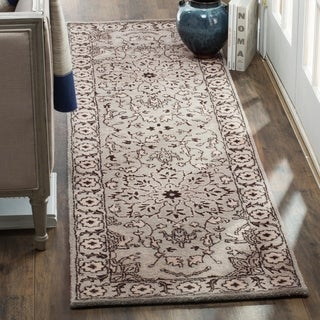 Safavieh Handmade Antiquity Grey / Beige Wool Runner Rug (2' x 8')