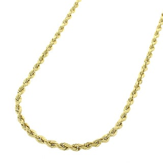 14k Yellow Gold 2 mm Solid Rope Cable Chain Necklace