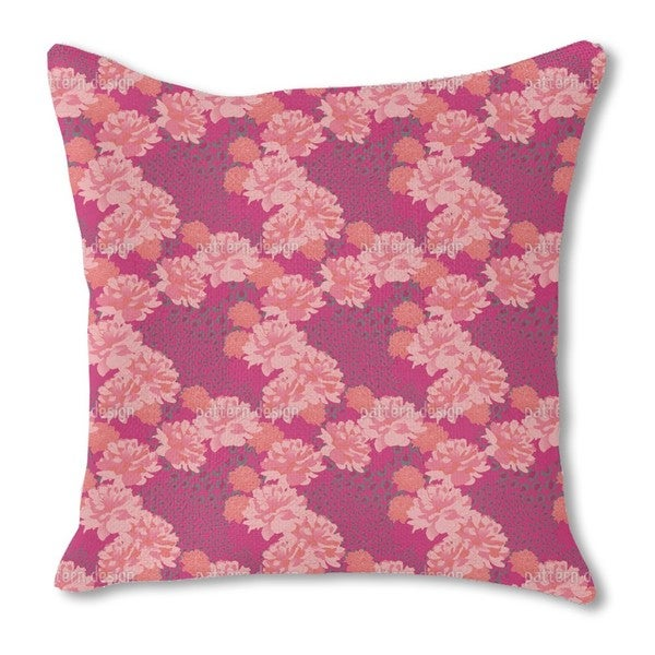 Leopards and Peonies Burlap Pillow Single Sided