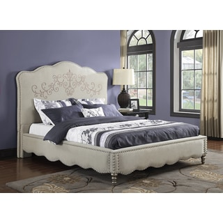 Zenda Cream Upholstered Bed with Scroll Pattern