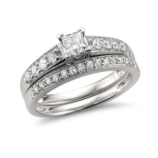 Montebello Jewelry 14k White Gold 1ct TDW White Diamond Engagement and Wedding Ring Bridal Set
