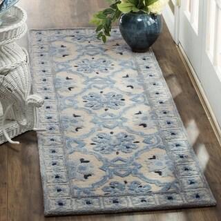 Safavieh Handmade Bella Ivory / Blue Wool Runner Rug (2' x 7')