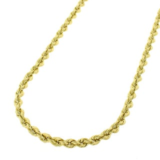 14k Yellow Gold 2.5mm Solid Rope Cable Chain Necklace