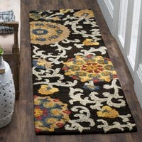 Safavieh Handmade Blossom Charcoal / Multicolored Wool Runner Rug - 2' x 10'